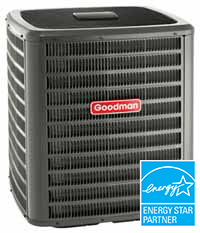 "alt=""picture of a Goodman Central Air Conditioner ready for installation for a customer in New Hudson Mi"""